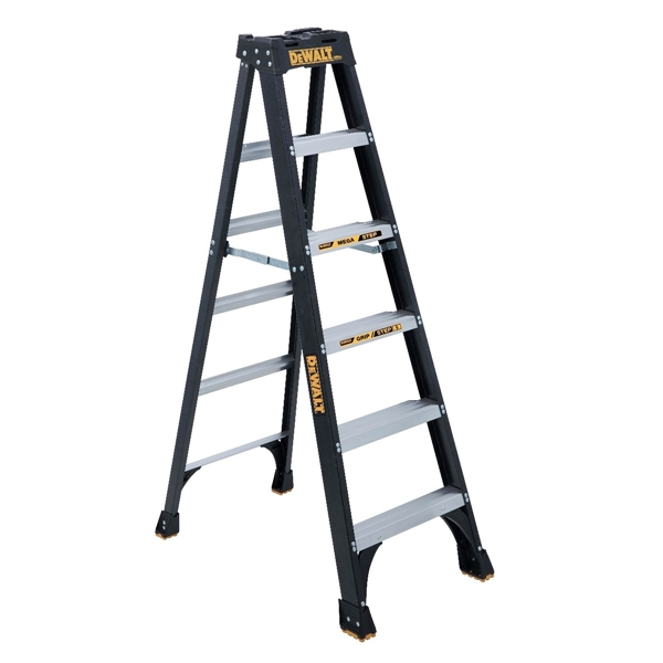 Picture of DeWALT by Louisville DXL3010-06 Step Ladder, 124 in Max Reach H, 5-Step, 300 lb, Type IA Duty Rating, 3 in D Step