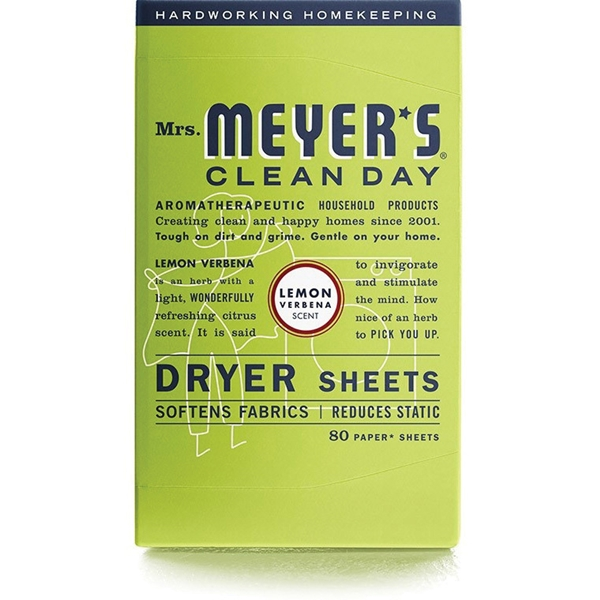 Picture of Mrs. Meyer's Clean Day 014248 Dryer Sheet, Lemon Verbena, 80
