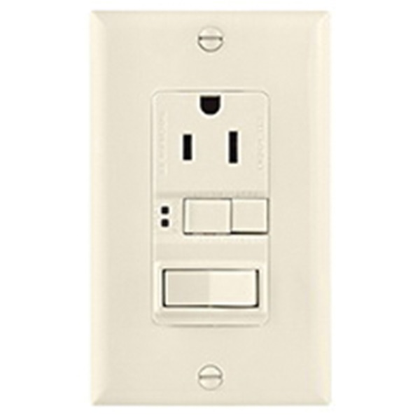 Picture of Eaton Cooper Wiring SGFS Series SGFS15LA-M-L GFCI Receptacle/Switch, 2-Pole, 15 A, 120 V Switch, 125 V Receptacle