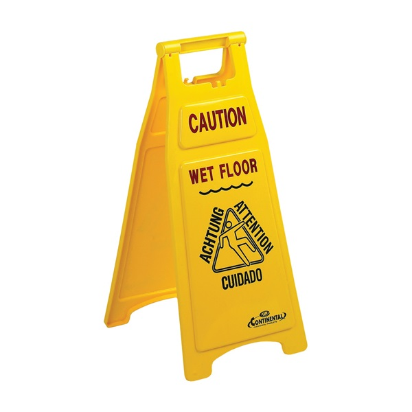 Picture of CONTINENTAL COMMERCIAL 119 Floor Sign, 12 in W, 26 in H, Yellow Background, Caution Wet Floor