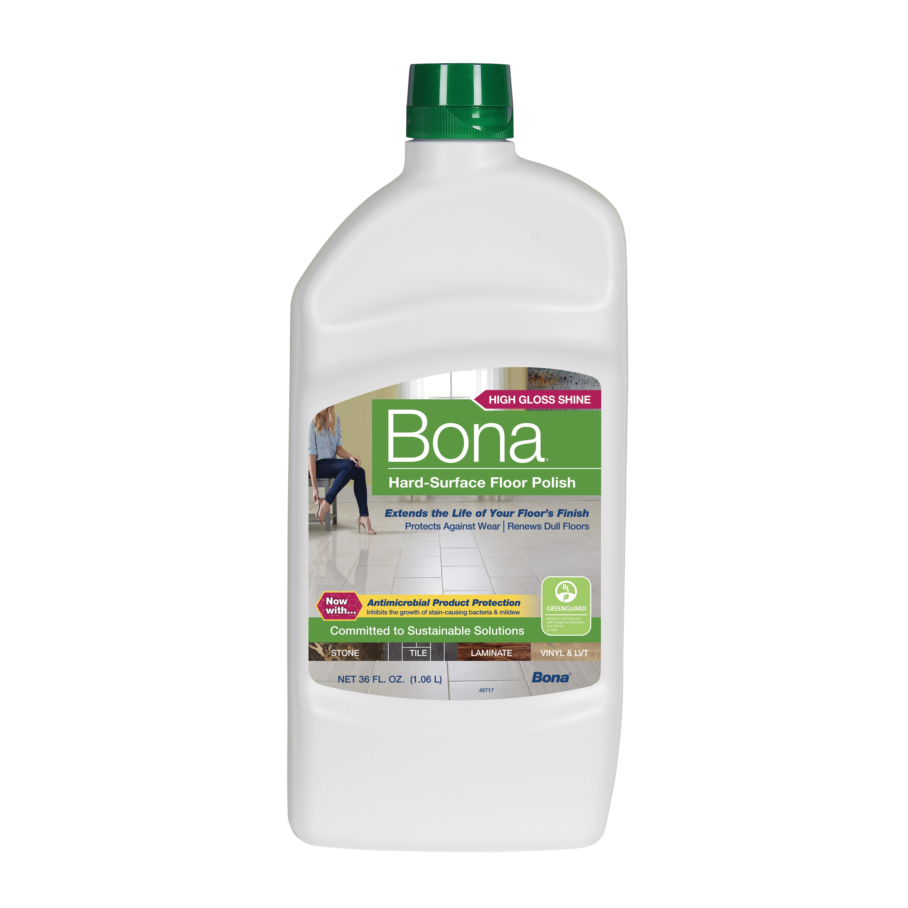Picture of Bona WP511059001 Floor Polish, 36 oz Package, Liquid, White