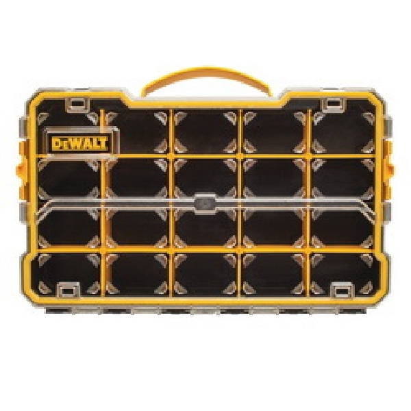 Picture of DeWALT DWST14830 Pro Organizer, 17-5/8 in L, 11 in W, 2-7/8 in H, 20 -Compartment, Polycarbonate, Black/Yellow