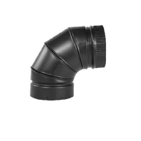 Picture of SELKIRK DSP6E9-1 Stove Pipe Elbow, 90 deg Angle, 6 in, 28, 26 ga Gauge, Stainless Steel, Black