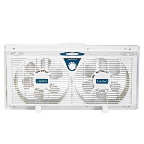 Picture of Lasko 2138 Electrically Reversible Twin Window Fan, 120 V, 8 in Dia Blade, 6-Blade, 2-Speed, 545 cfm Air, White