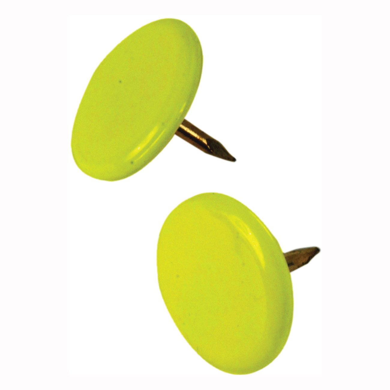 Picture of HILLMAN 122671 Thumb Tack, 15/64 in Shank, Steel, Painted, Yellow, Cap Head, Sharp Point, Snap-Pak