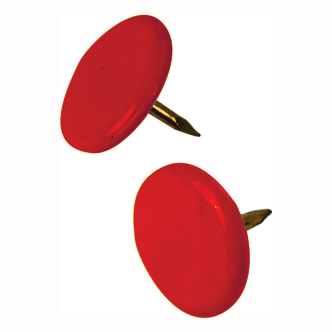Picture of HILLMAN 122673 Thumb Tack, 15/64 in Shank, Steel, Painted, Red, Cap Head, Sharp Point, Snap-Pak
