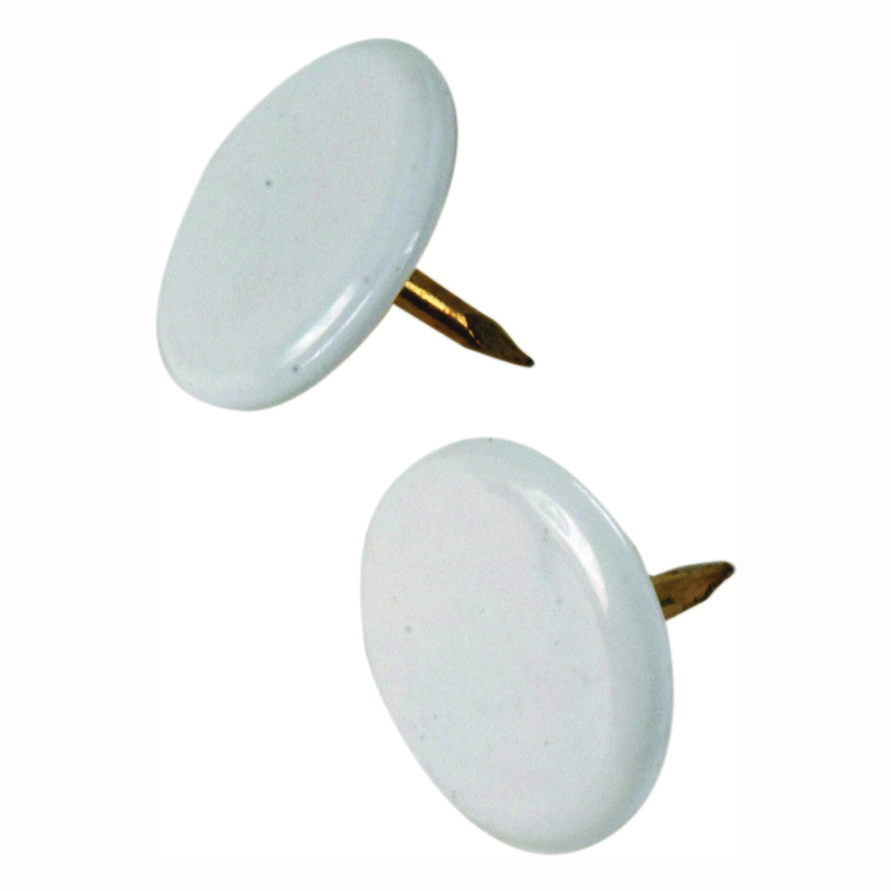 Picture of HILLMAN 122674 Thumb Tack, 15/64 in Shank, Steel, Painted, White, Cap Head, Sharp Point, Snap-Pak
