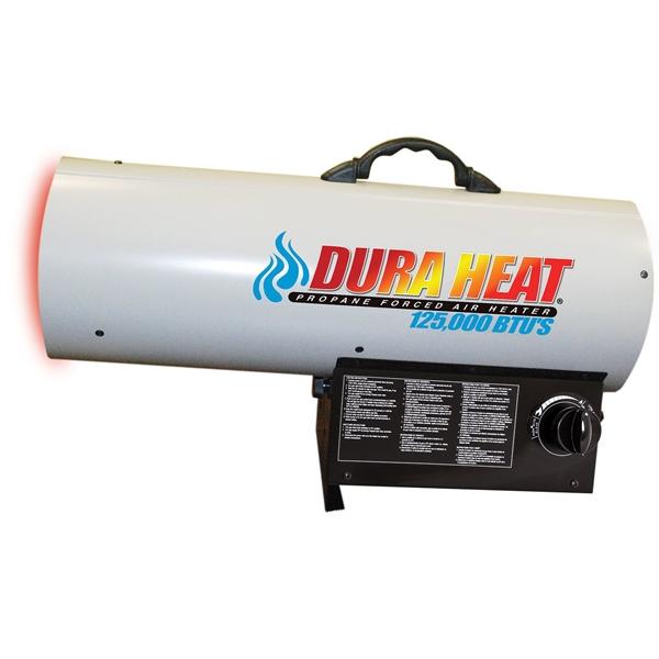 Picture of Dura Heat GFA125A Forced Air Heater, 100 lb Fuel Tank, Liquid Propane, 70000/85000/125000 Btu, 99 % Efficiency