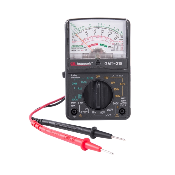 Picture of GB GMT-318 Analog Multimeter, Analog Display, Functions: AC Voltage, DC Current, DC Voltage, Resistance, Black