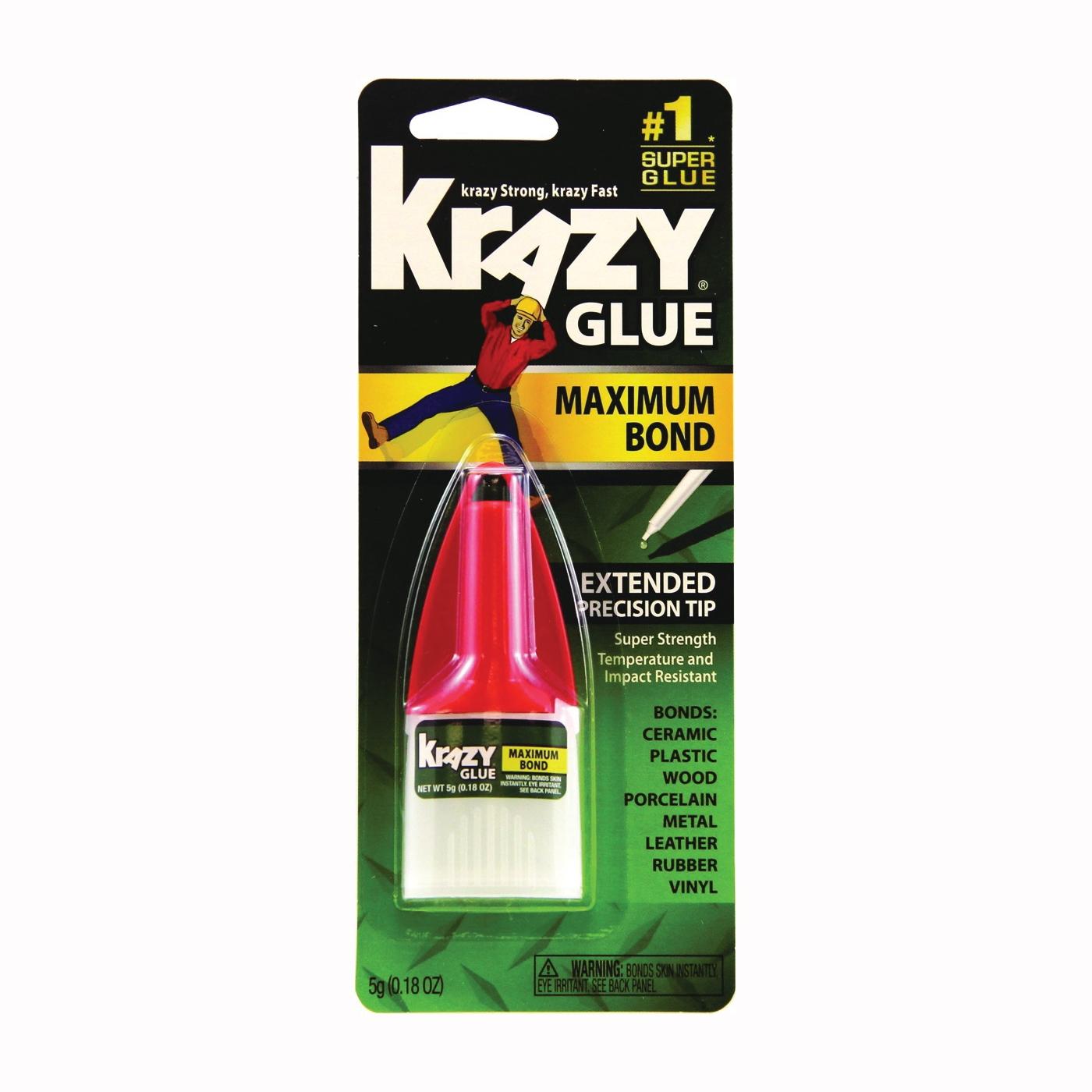 Picture of Krazy Glue Advanced Formula KG48348MR Maximum Bond Glue, Liquid, Irritating, Clear, 5 g Package, Bottle