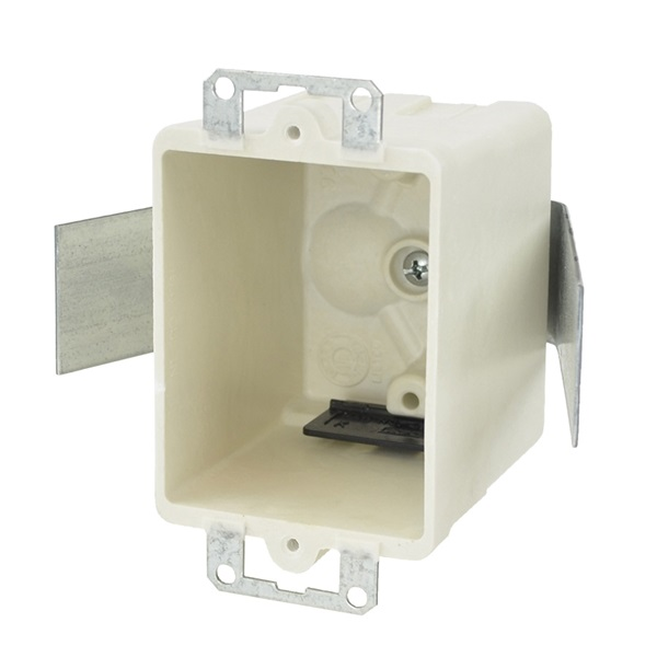 Picture of Allied Moulded FiberglassBOX 9361-ESK Electrical Box, 1-Gang, 2-Outlet, 4-Knockout, Beige/Tan, Bracket Mounting
