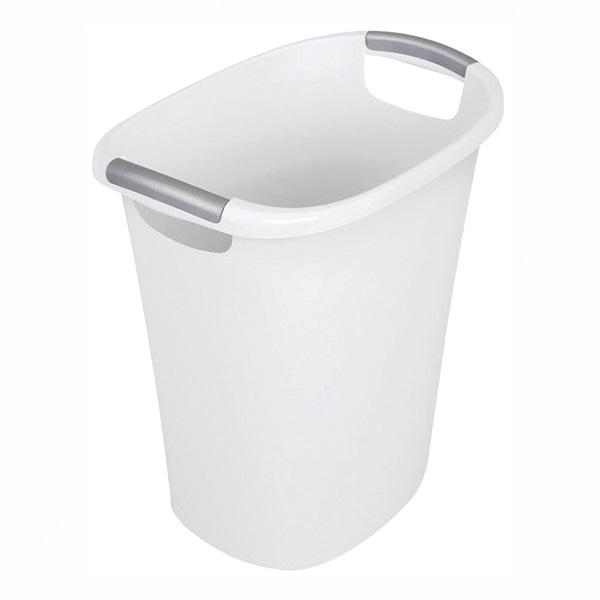 Picture of Sterilite Ultra 10638006 Waste Basket, 6 gal Capacity, Oval, Plastic, White, 11 in W, 15-3/4 in D, 16-1/4 in H