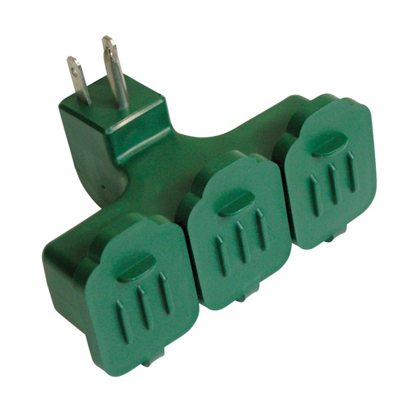 Picture of PowerZone ORAD2501 Outlet Adapter, 3-Outlet, Green