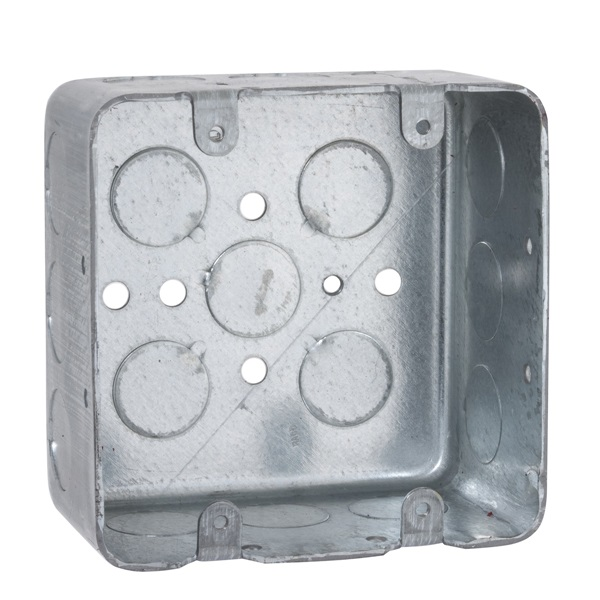 Picture of RACO 680 Switch Box, 2-Gang, 2-Outlet, 17-Knockout, 1/2 in Knockout, Steel, Gray, Galvanized, Screw Mounting