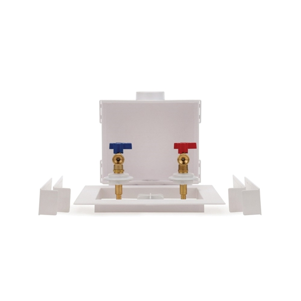 Picture of Oatey Quadtro 38528 Washing Machine Outlet Box, 1/2 in Connection, Brass/Polystyrene, White