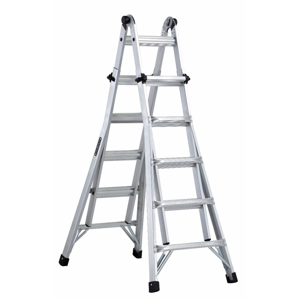 Picture of Louisville L-2098-22 Multi-Purpose Ladder, 11 to 19 ft Max Reach H, 20-Step, Type IA Duty Rating, Aluminum