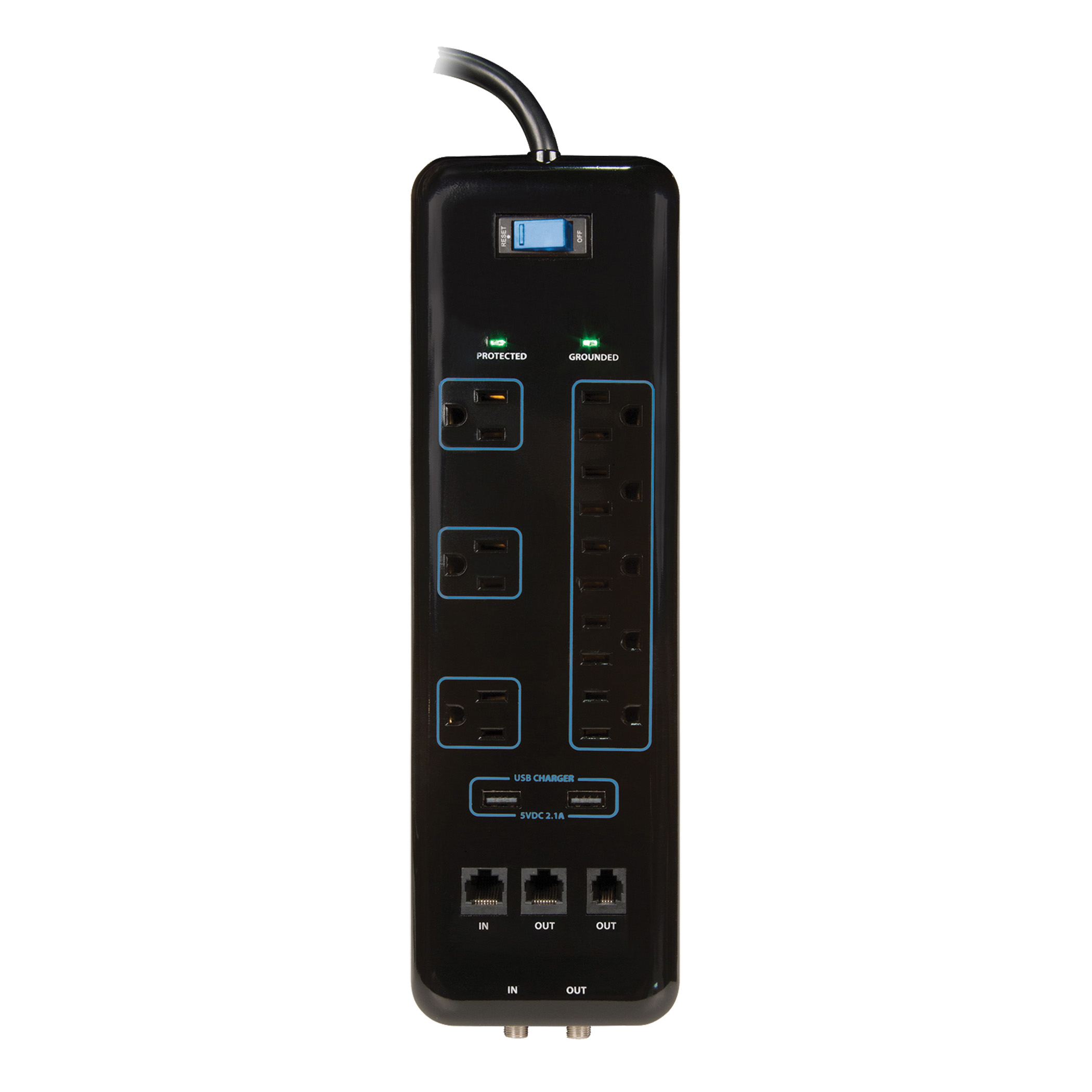 Picture of PowerZone OR503118 Surge Protector Power Strip, 125 V, 15 A, 8-Outlet, 3600 J Energy, Black