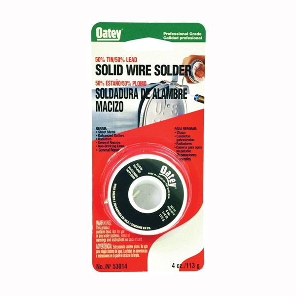 Picture of Oatey 53014 Leaded Solder, 1/4 lb Package, Carded, Solid, Silver, 361 to 421 deg F Melting Point