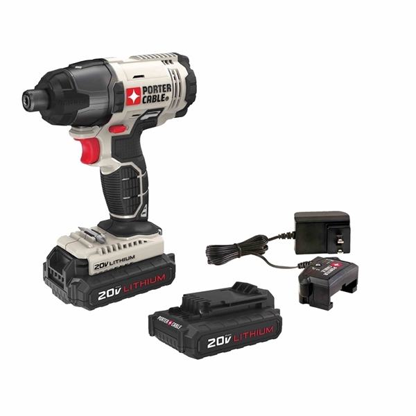Picture of PORTER-CABLE PCC641LB Impact Driver Kit, Kit, 20 V Battery, 1/4 in Drive, Hex Drive, 3100 ipm IPM, 2800 rpm Speed