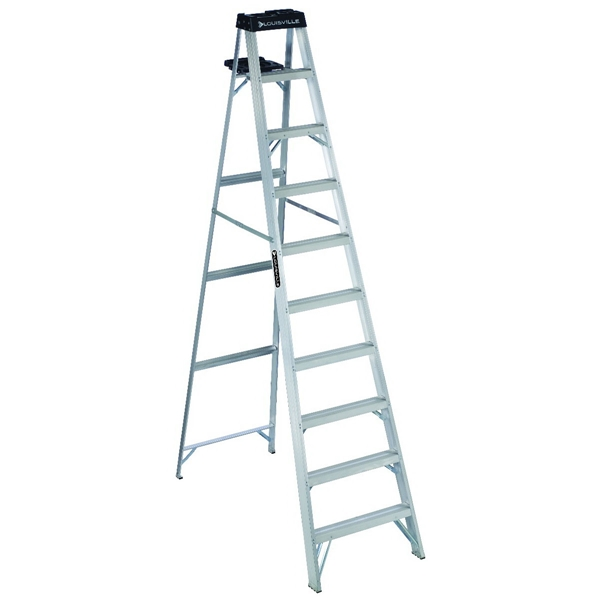 Picture of Louisville AS3010 Step Ladder, 170 in Max Reach H, 9-Step, 300 lb, Type IA Duty Rating, 3 in D Step, Aluminum