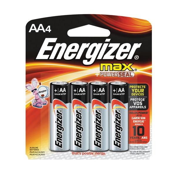 Picture of Energizer E91 Series E91BP-4 Alkaline Battery, 1.5 V Battery, 2850 mAh, AA Battery, Zinc, Manganese Dioxide, Silver
