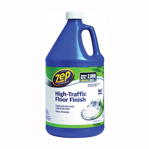 Picture of Zep ZUHTFF128 Floor Polish, 1 gal Package, Can, Liquid, Mild Ammonia, Milk/Translucent White