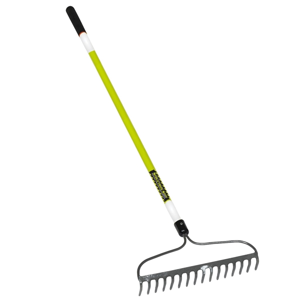 Picture of Structron S600 Safety Series 49754 Bow Rake with Retroreflective Tape, 3 in L Head, 16 in W Head, 16 -Tine