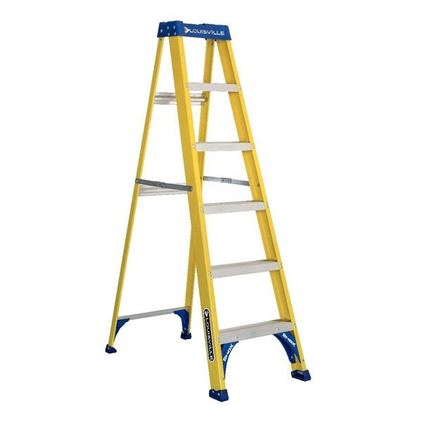 Picture of Louisville FS2006 Step Ladder, 124 in Max Reach H, 5-Step, 250 lb, Type I Duty Rating, 3 in D Step, Fiberglass
