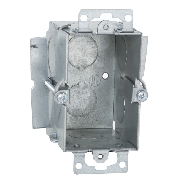 Picture of RACO 509 Switch Box, 1-Gang, 1-Outlet, 4-Knockout, 1/2 in Knockout, Steel, Gray, Galvanized