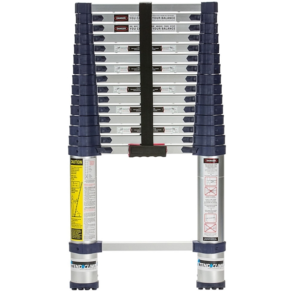 Picture of XTEND+CLIMB 785P Telescoping Ladder, 19-1/2 ft Max Reach H, 16-Step, 250 lb, 1-1/2 in D Step, Aluminum, Anodized