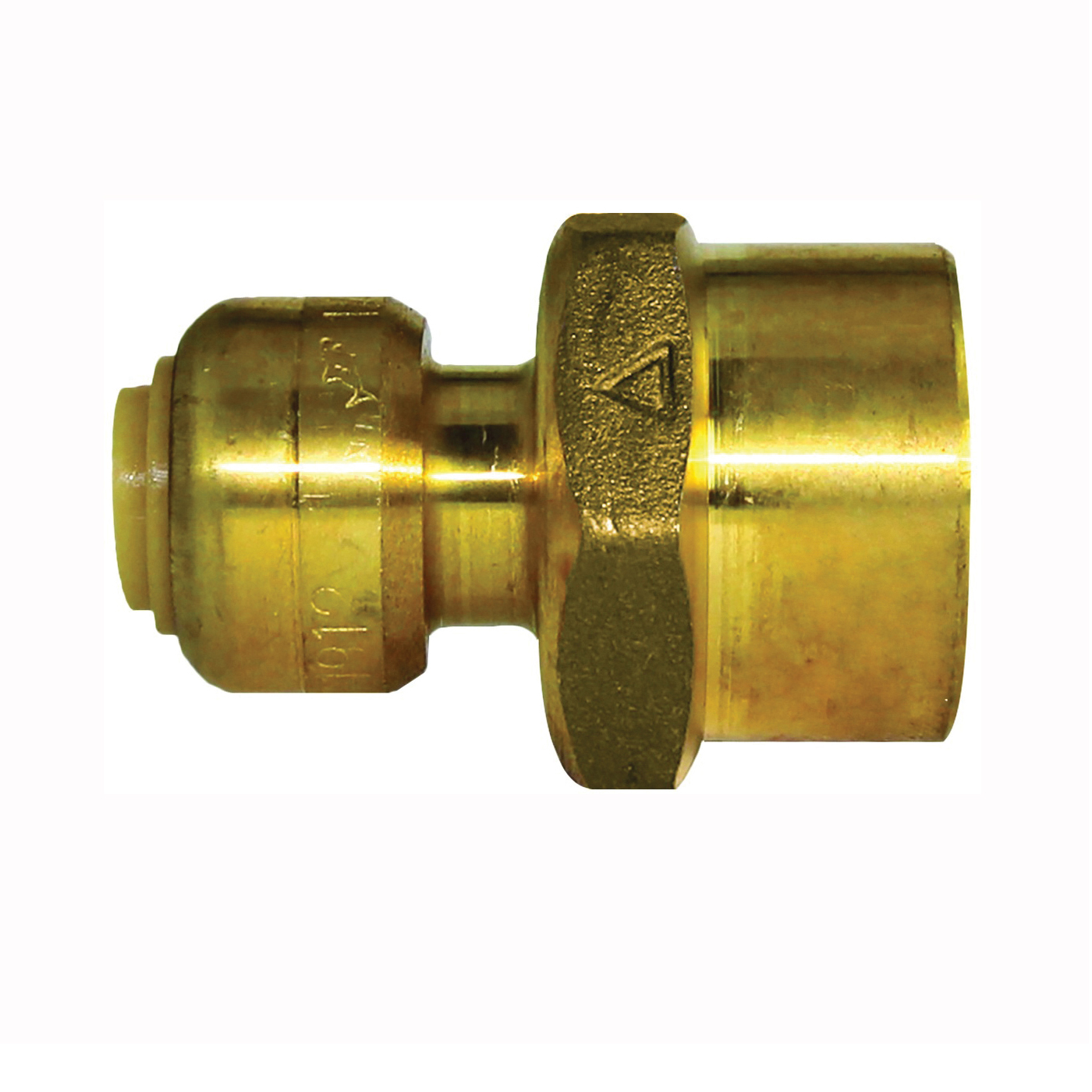 Picture of SharkBite U066LFA Pipe Connector, 1/4 x 1/2 in, FNPT x FNPT, Brass, 200 psi Pressure