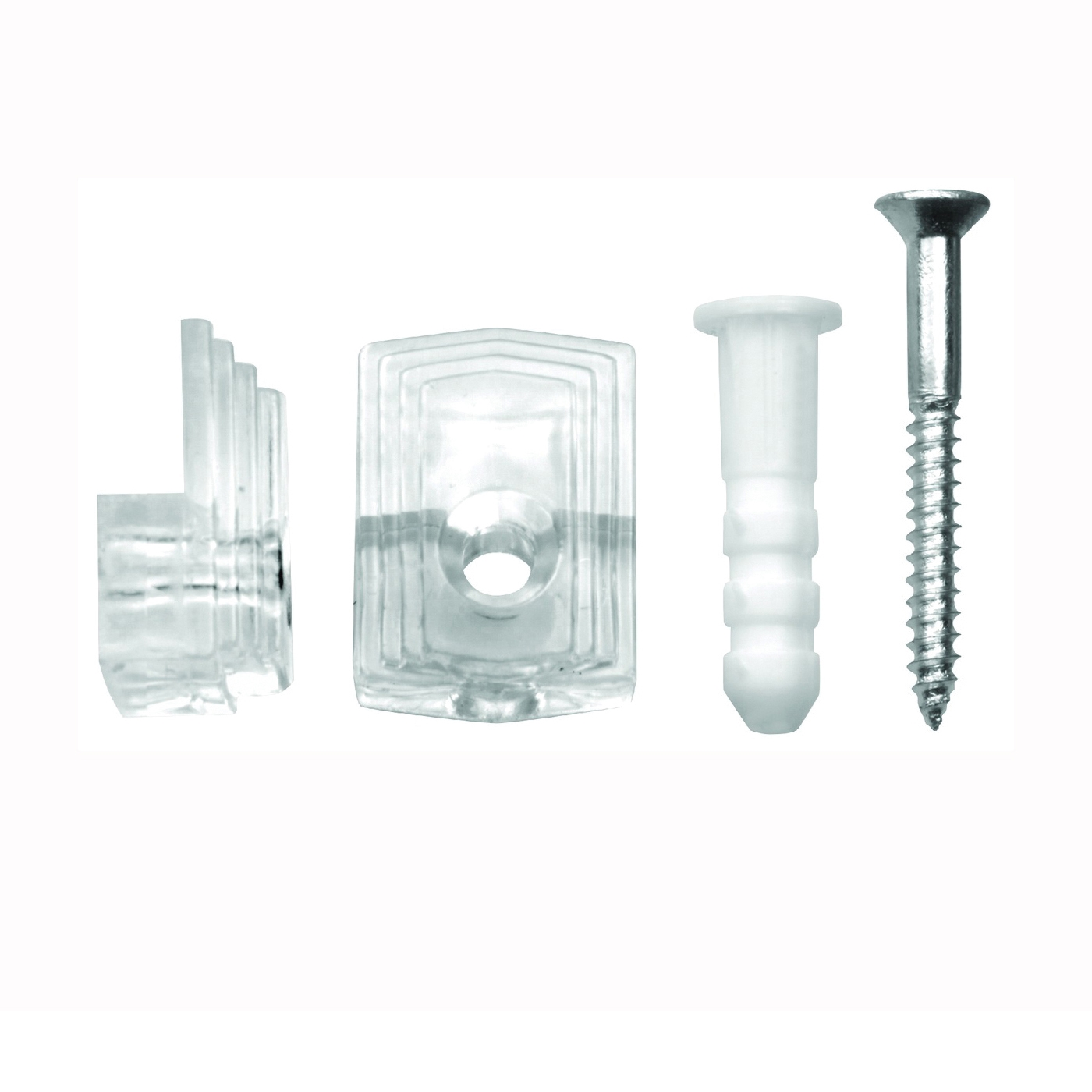 Picture of OOK 50224 Mirror Clip Set, 20 lb, Plastic, Clear, Wall Mounting, 4, Pack