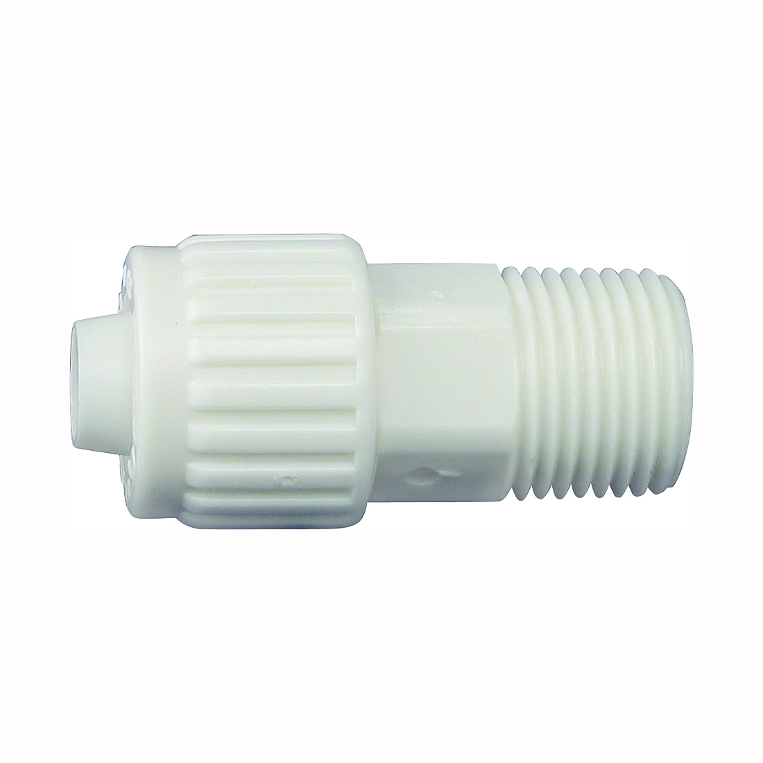 Picture of Flair-It 16842 Tube to Pipe Adapter, 1/2 in, PEX x MPT, Polyoxymethylene, White