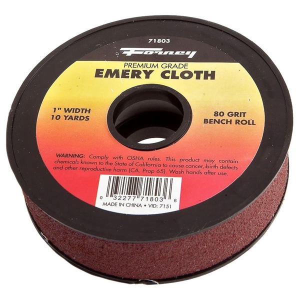 Picture of Forney 71803 Bench Roll, 1 in W, 10 yd L, 80 Grit, Premium, Aluminum Oxide Abrasive, Emery Cloth Backing