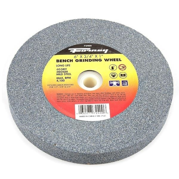 Picture of Forney 72400 Bench Grinding Wheel, 6 in Dia, 1 in Arbor, 60 Grit, Medium, Aluminum Oxide Abrasive