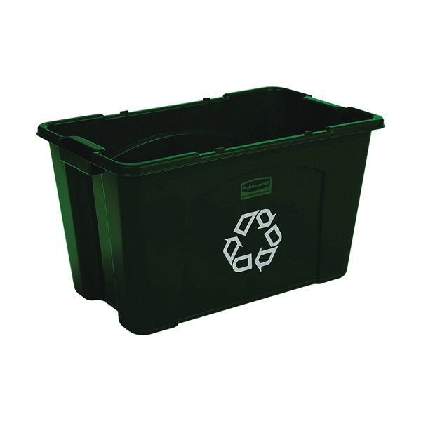 Picture of Rubbermaid FG571873GRN Recycling Box, 18 gal Capacity, Resin, Green, 25-3/4 in L x 16 in W x 14-3/4 in D Dimensions