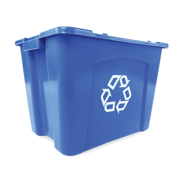 Picture of Rubbermaid FG571473BLUE Recycling Box, 14 gal Capacity, Resin, Blue, 20-3/4 in L x 16 in W x 14-3/4 in D Dimensions