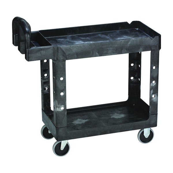 Picture of Rubbermaid FG450027BLA Small Utility Cart, 500 lb, 17.88 in OAW, 33-1/4 in OAH, 39 in OAD, Polypropylene, Black