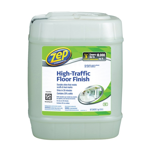 Picture of Zep ZUHTFF5G Floor Polish, 5 gal Package, Can, Liquid, Mild Ammonia, Milk/Translucent White