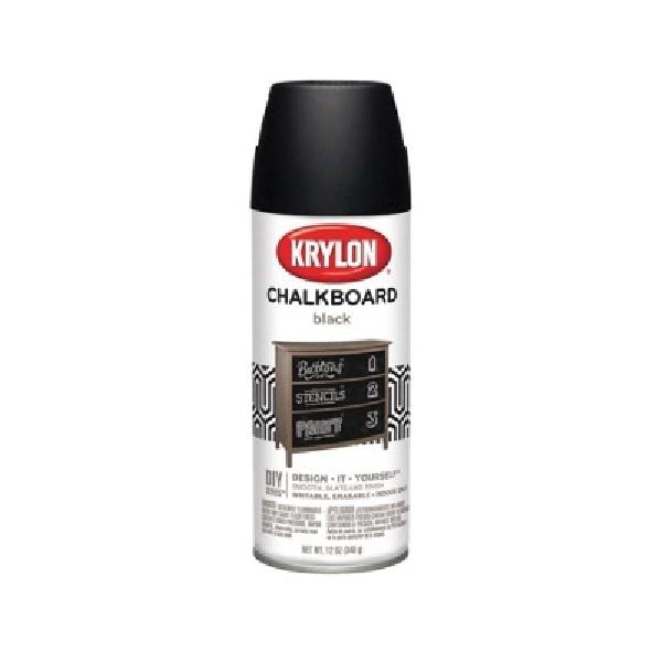 Picture of Krylon 807 Chalkboard Paint, Black, 12 oz, Aerosol Can