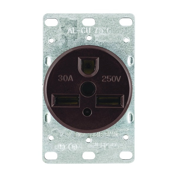 Picture of Eaton Cooper Wiring 1234-BOX Power Receptacle, 2-Pole, 250 V, 30 A, NEMA 6-30R, Brown