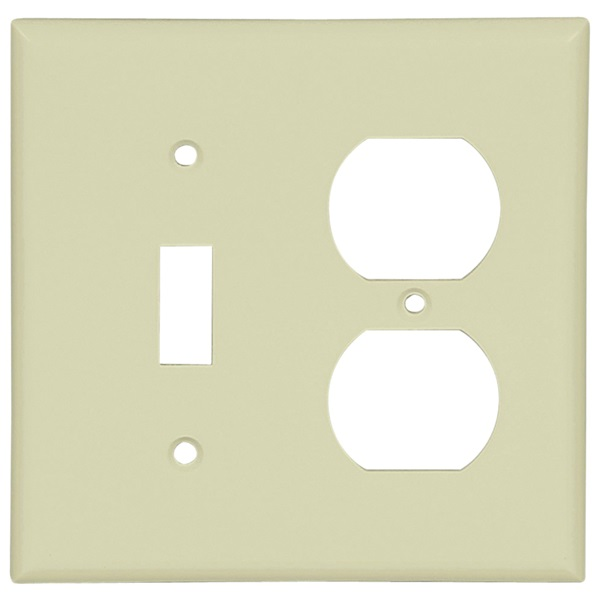 Picture of Eaton Cooper Wiring 2138V-BOX Combination Wallplate, 4-1/2 in L, 4.56 in W, 2-Gang, Thermoset, Ivory, High-Gloss