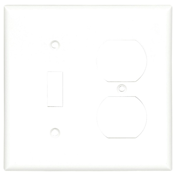 Picture of Eaton Cooper Wiring 2138W-BOX Combination Wallplate, 4-1/2 in L, 4.56 in W, 2-Gang, Thermoset, White, High-Gloss