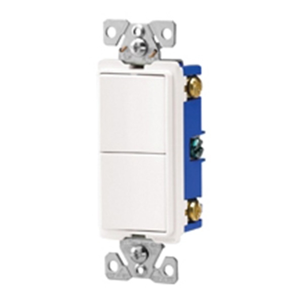 Picture of Eaton Wiring Devices 7700 Series 7728W-BOX Combination Switch, 15 A, 120/277 V, Single-Pole, Lead Wire Terminal
