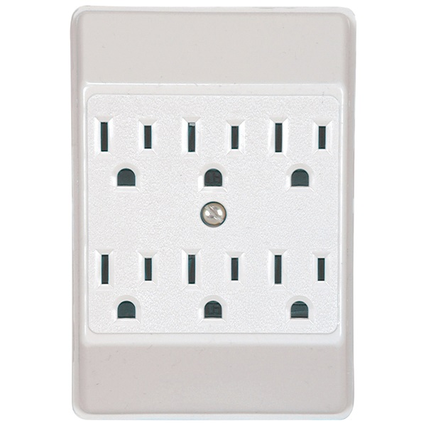 Picture of Eaton Wiring Devices C1146W-SP Wire Tap, 2-Pole, 15 A, 125 V, 6-Outlet, White