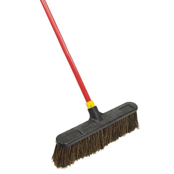 Picture of Quickie Bulldozer 00526 Push Broom, Stiff Palmyra Fiber Bristle, 18 in L, Steel Handle