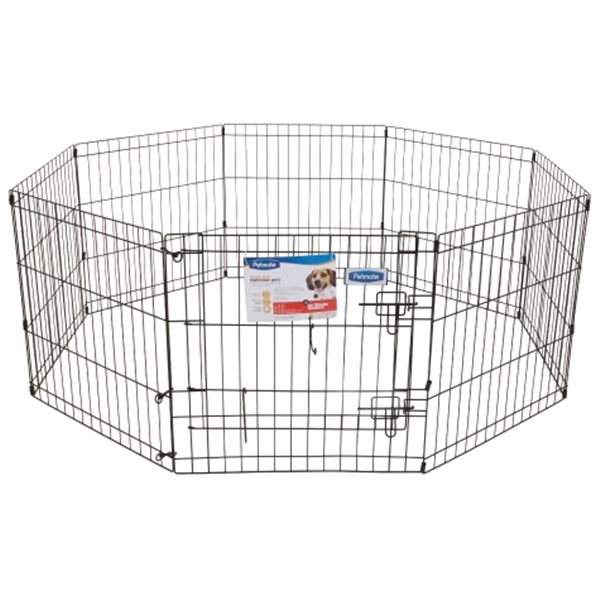 Picture of PETMATE 55014 Exercise Pen with Door, 192 in OAL, 0.3 in OAW, 42 in OAH, Black
