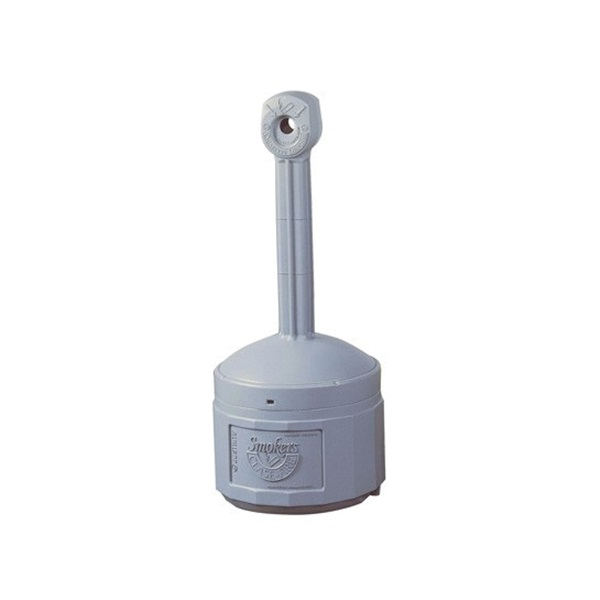 Picture of JUSTRITE Smoker's Cease Fire 26800 Cigarette Butt Receptacle, 4 gal Capacity, Polyethylene, Pewter Gray