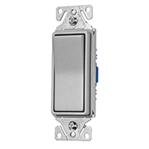 Picture of Eaton Wiring Devices 7500 Series 7501SG-K-L Rocker Switch, 15 A, 120/277 V, Single-Pole, Silver Granite