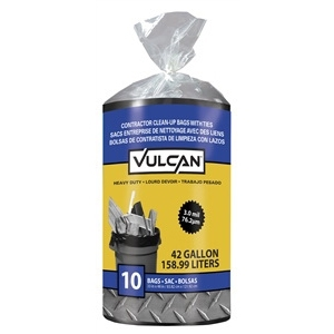 Picture of Vulcan 20039-6 Contractor Bag, 42 gal Capacity, Poly, Black, 10